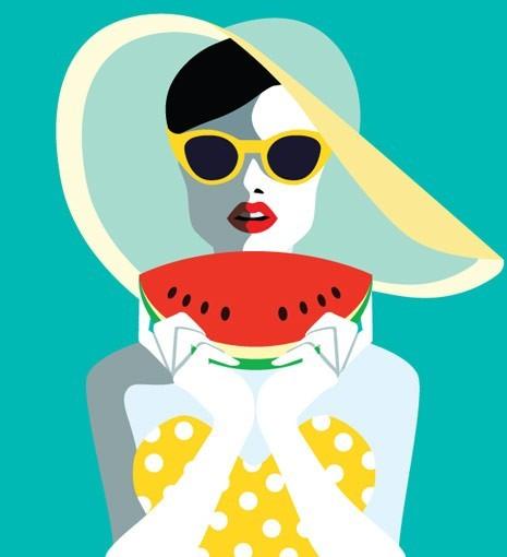 Ρετρό γυναίκα τρώει καρπούζι