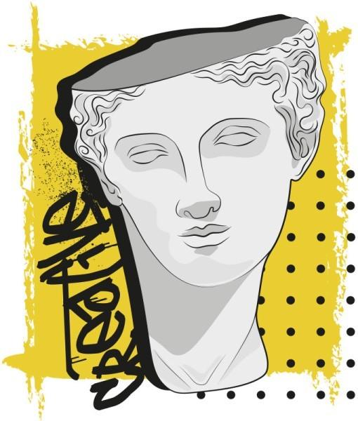 Άγαλμα σε κίτρινο φόντο