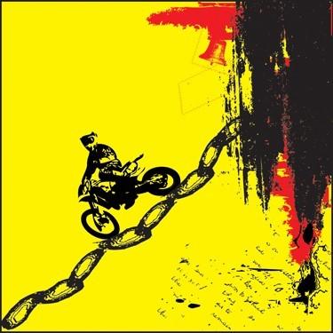 Μοτοσικλέτα πάνω σε αλυσίδα