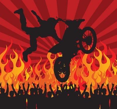 Αναβάτης μοτοσυκλέτας στον αέρα