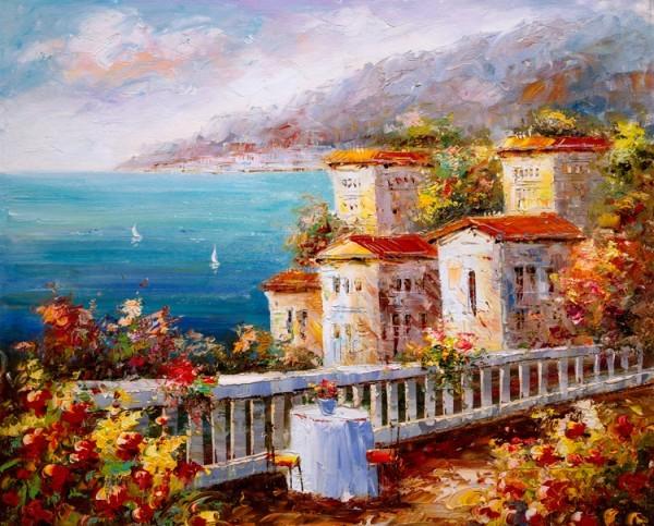 Ελαιογραφία,  Θέα στη Θάλασσα