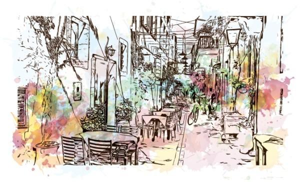 Σκίτσο απο σοκάκι στην Κρήτη με νερομπογιές