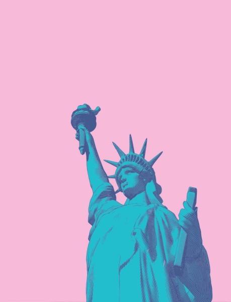 Ροζ φόντο με άγαλμα της ελευθερίας