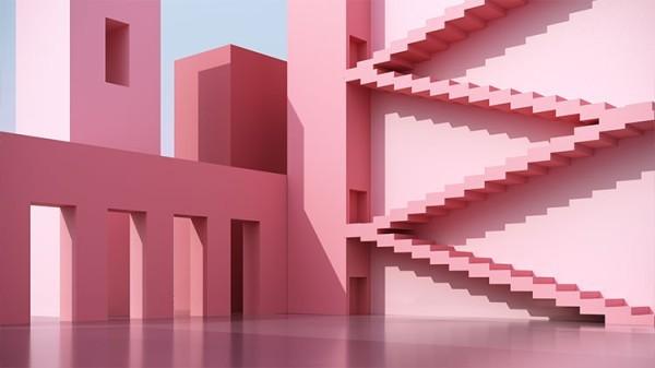 Ροζ αρχιτεκτονική τοίχου