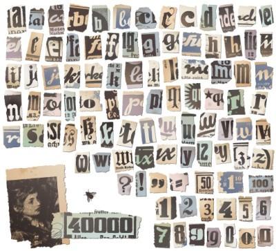 Ρετρό αλφάβητο σε εφημερίδα, Vintage, Image Gallery
