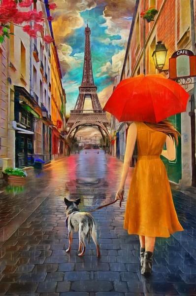 Γυναίκα με σκύλο στο Παρίσι