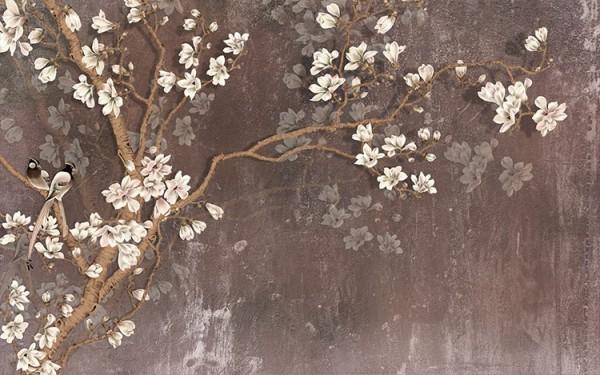 Κλαδιά με λουλουδάκια και πουλιά