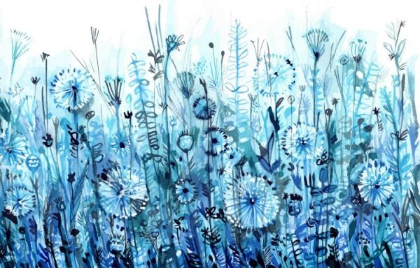 Αγρός με μπλε λουλούδια