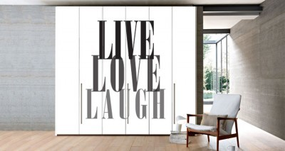 Live,Love,Laugh, Φράσεις, Αυτοκόλλητα ντουλάπας