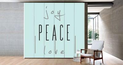 Joy, Love, Piece, Φράσεις, Αυτοκόλλητα ντουλάπας