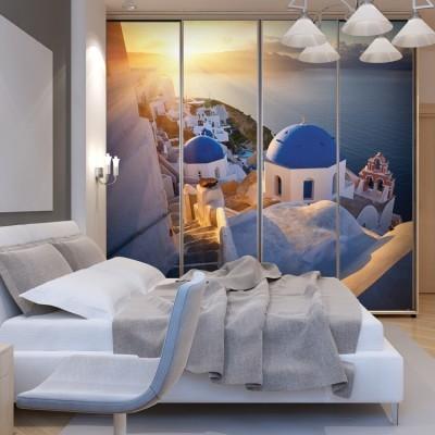 Ηλιοβασίλεμα στην Οία, Σαντορίνη, Ελλάδα, Αυτοκόλλητα ντουλάπας