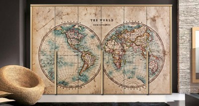 Παγκόσμιος χάρτης, Vintage, Αυτοκόλλητα ντουλάπας