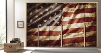 Aμερικάνικη σημαία, Vintage, Αυτοκόλλητα ντουλάπας