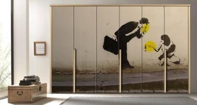 Τέχνη στο δρόμο στην Νορβηγία, Φόντο - Τοίχοι, Αυτοκόλλητα ντουλάπας
