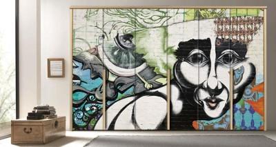 Γκράφιτι πρόσωπο, Φόντο - Τοίχοι, Αυτοκόλλητα ντουλάπας