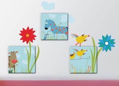 Ζωάκια με λουλούδια, Παιδικά, Πίνακες και αυτοκόλλητα