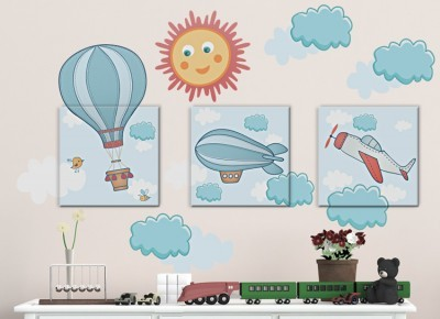 Αερόστατα στα σύννεφα, Παιδικά, Πίνακες και αυτοκόλλητα