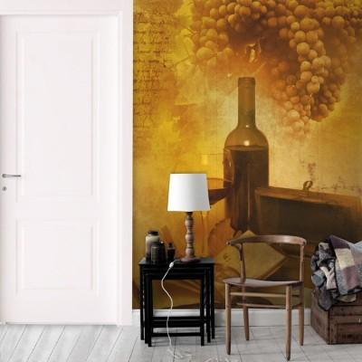 Ποτήρι και μπουκάλι κρασί, Φαγητό, Ταπετσαρίες Τοίχου