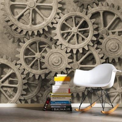 Μηχανικό φόντο με γρανάζια, Φόντο - Τοίχοι, Ταπετσαρίες Τοίχου