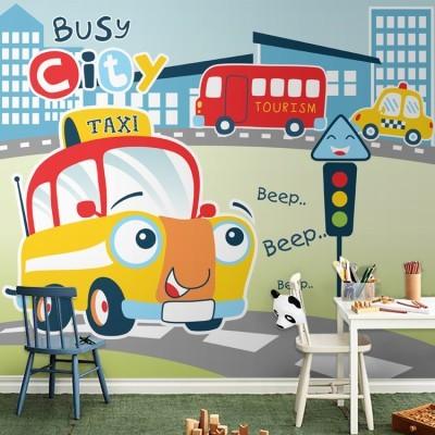 Busy city Taxi, Παιδικά, Ταπετσαρίες Τοίχου