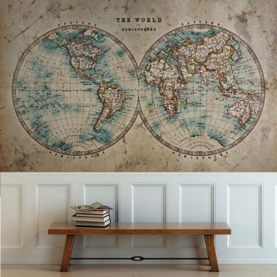 Παγκόσμιος χάρτης, Vintage, Ταπετσαρίες Τοίχου
