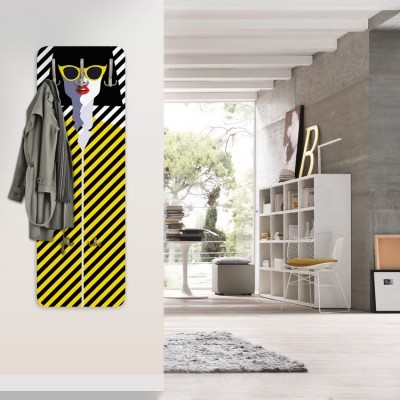 Ρετρό γυναίκα κίτρινο ριγέ Κόμικ Κρεμάστρες & Καλόγεροι 45 cm x 1.38cm