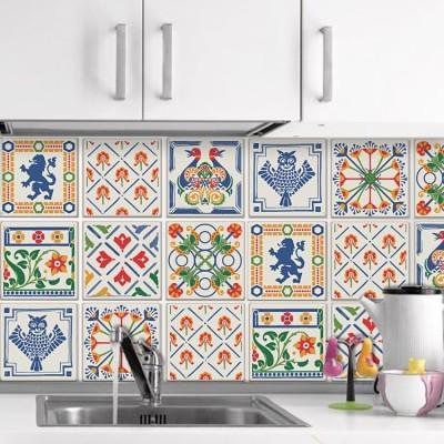 Floral μοτίβο με ζώα (8 τεμάχια), Μοτίβα, Αυτοκόλλητα πλακάκια