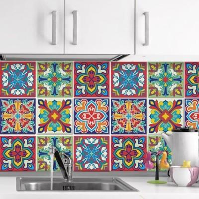 Πολύχρωμο ιταλικό floral μοτίβο (6 τεμάχια), Μοτίβα, Αυτοκόλλητα πλακάκια