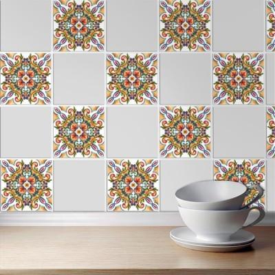 Πολύχρωμο συμμετρικό μοτίβο (8 τεμάχια) Μοτίβα Αυτοκόλλητα πλακάκια 10 x 10 εκ.