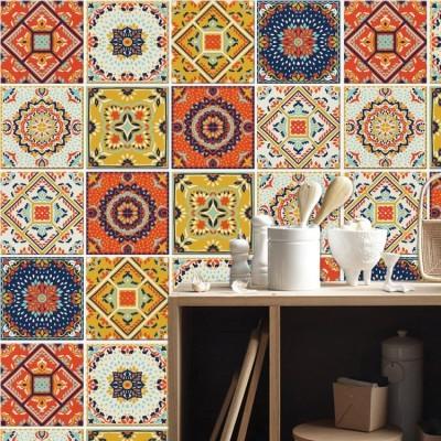 Πολύχρωμο παραδοσιακό μωσαϊκό μοτίβο (8 τεμάχια) Μοτίβα Αυτοκόλλητα πλακάκια 10 x 10 εκ.
