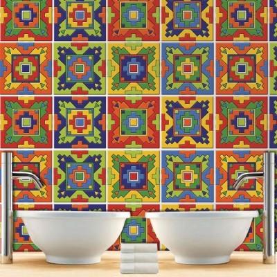Μεξικάνικο Ταλαβέρα ρετρό μοτίβο (8 τεμάχια), Μοτίβα, Αυτοκόλλητα πλακάκια