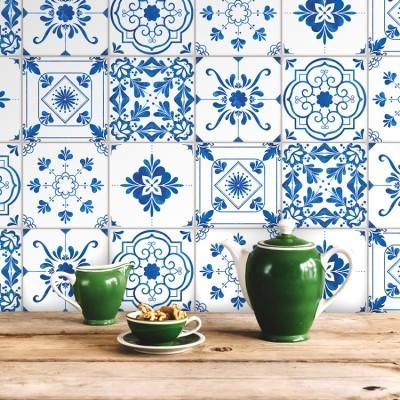 Vintage μπλε μοτίβα  (6 τεμάχια), Μοτίβα, Αυτοκόλλητα πλακάκια