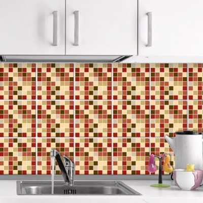 Καφέ ψηφίδα (6 τεμάχια) Μοτίβα Αυτοκόλλητα πλακάκια 10 x 10 εκ.