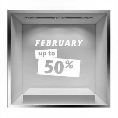 February up to 50% sales Εκπτωτικά Αυτοκόλλητα βιτρίνας 39 x 50 cm