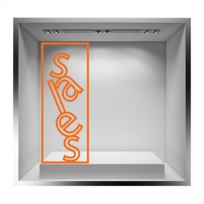 Sales κατακόρυφο με περίγραμμα Εκπτωτικά Αυτοκόλλητα βιτρίνας 103 x 40 cm