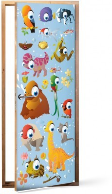 Zώα Παιδικά Αυτοκόλλητα πόρτας 60 x 170 εκ.