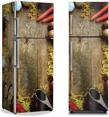 Ζυμαρικά και λαχανικά Φαγητό Αυτοκόλλητα ψυγείου 50 x 85 εκ.