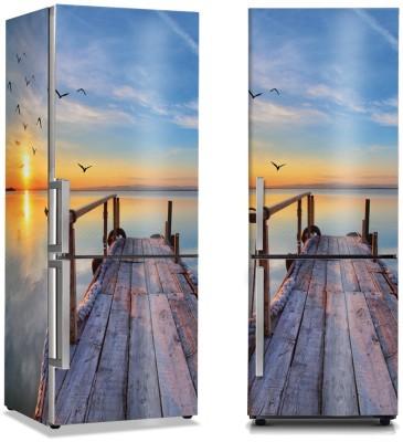 Αποβάθρα στο ηλιοβασίλεμα Φύση Αυτοκόλλητα ψυγείου 50 x 85 εκ.