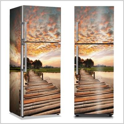 Ηλιοβασίλεμα σε έναν τροπικό ποταμό Φύση Αυτοκόλλητα ψυγείου 50 x 85 εκ.