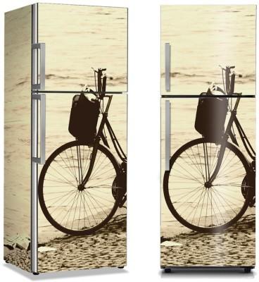 Ποδήλατο εποχής στην παραλία Vintage Αυτοκόλλητα ψυγείου 50 x 85 εκ.
