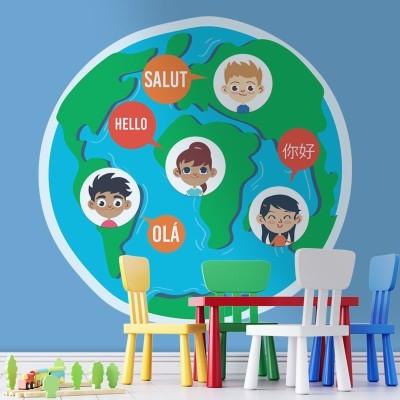 Γεια σε διάφορες γλώσσες, Παιδικά, Αυτοκόλλητα τοίχου