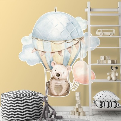 Αρκούδα μέσα σε αερόστατο Παιδικά Αυτοκόλλητα τοίχου 60 x 60 εκ.