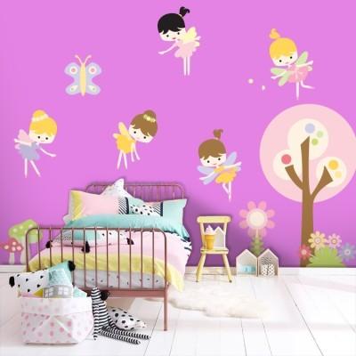 Όμορφες νεραϊδούλες Παιδικά Αυτοκόλλητα τοίχου 65 x 52 εκ.