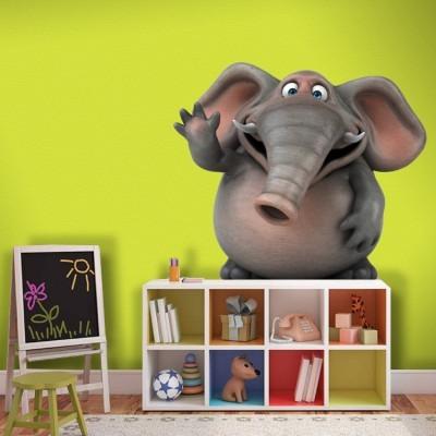 Χαρούμενο ελεφαντάκι Παιδικά Αυτοκόλλητα τοίχου 65 x 61 εκ.