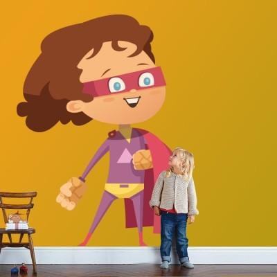 Μικρός ροζ σούπερ ήρωας Παιδικά Αυτοκόλλητα τοίχου 35 x 47 εκ.