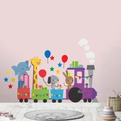 Τρενάκι με ζώα Παιδικά Αυτοκόλλητα τοίχου 135x78 cm (card size)