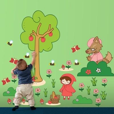 Κοκκινοσκουφίτσα στο δάσος Παιδικά Αυτοκόλλητα τοίχου 220x159 cm (card size)