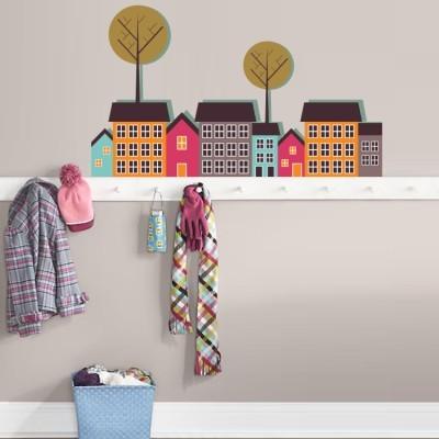 Μικρή πόλη Παιδικά Αυτοκόλλητα τοίχου 70 x 41 εκ.