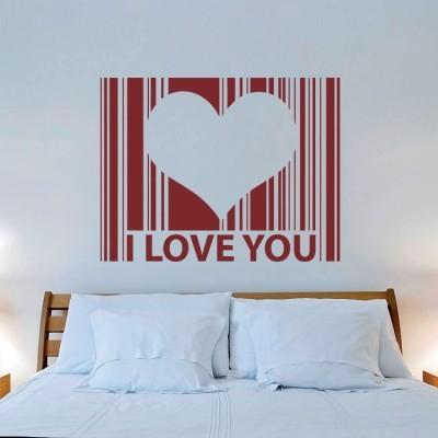 I love you, barcode Φράσεις Αυτοκόλλητα τοίχου 80 x 61 εκ.