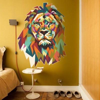 Πολύχρωμο λιοντάρι Ζώα Αυτοκόλλητα τοίχου 75 x 100 εκ.